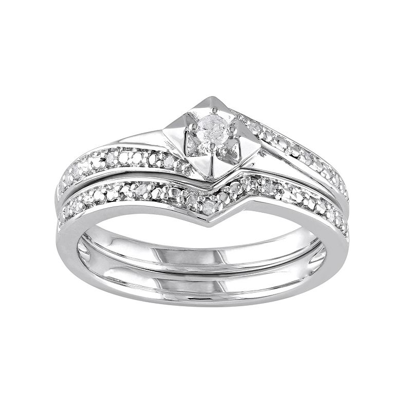 Diamond Engagement Ring Set in Sterling Silver (1/10 ct. T.W.)
