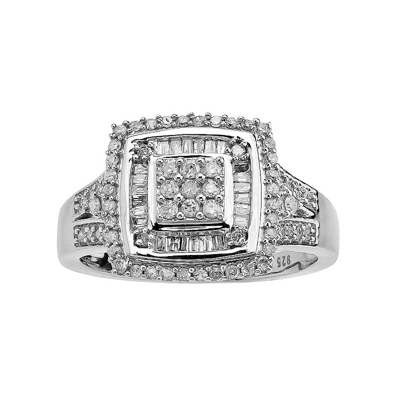 10k White Gold 1/2-ct. T.W. Diamond Tiered Square Ring