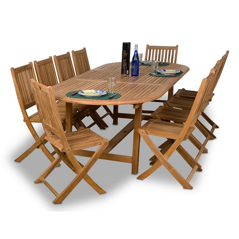 Amazonia Teak Dassow 11-pc. Extendable Oval Dining Set - Outdoor