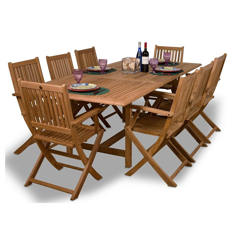 Amazonia Teak Cologne 9-pc. Extendable Rectangular Dining Set - Outdoor
