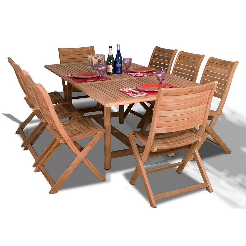 Amazonia Teak Auburn 9-pc. Extendable Rectangular Dining Set - Outdoor