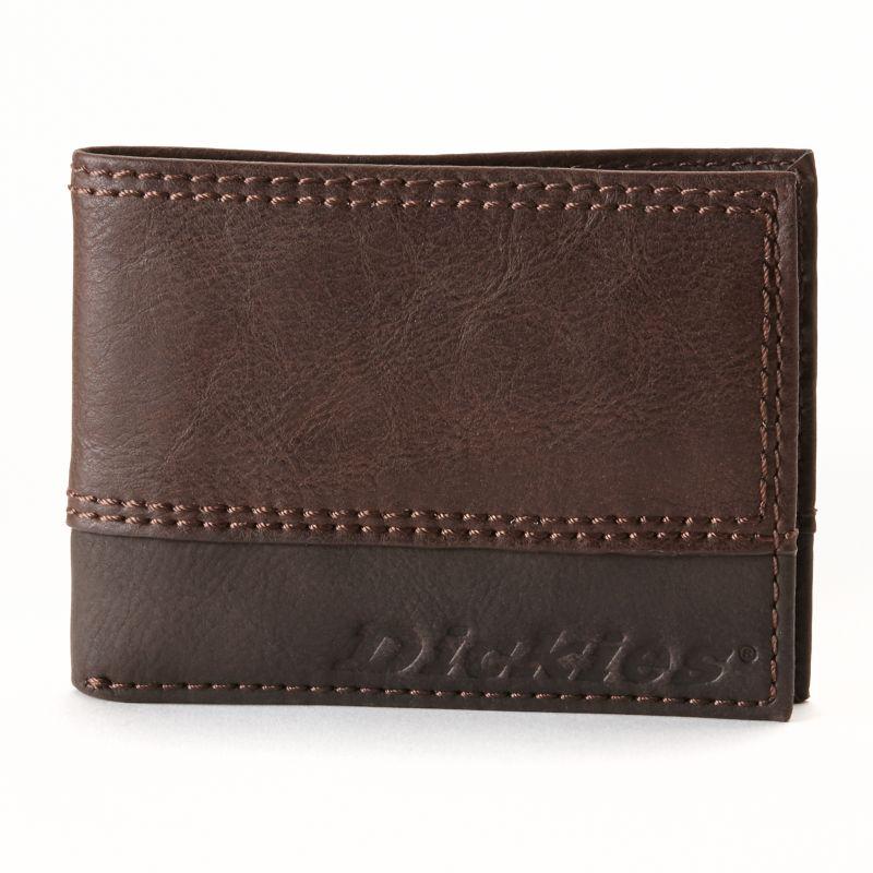 Dickies Slim Bifold Leather Wallet - Men, Brown thumbnail