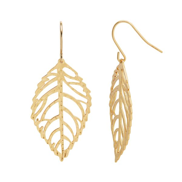 Silver Classics 18k Gold Over Silver Openwork Leaf Drop Earrings