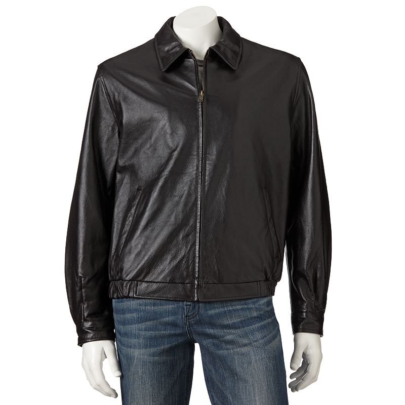 Big & Tall Croft & Barrow® Leather Bomber Jacket
