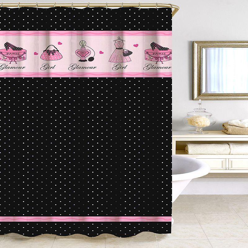 Homewear Glamour Girl Polka-Dot Fabric Shower Curtain