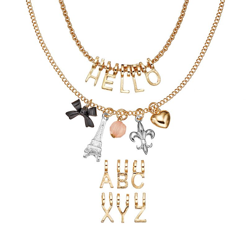 SO® Eiffel Tower, Bow, Fleur-de-Lis, Heart and Bead Charm Make Your Own ''HELLO'' Necklace set
