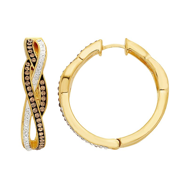 Champagne Brilliance 18k Gold Over Silver Crystal Infinity Hoop Earrings - Made with Swarovski Crystals