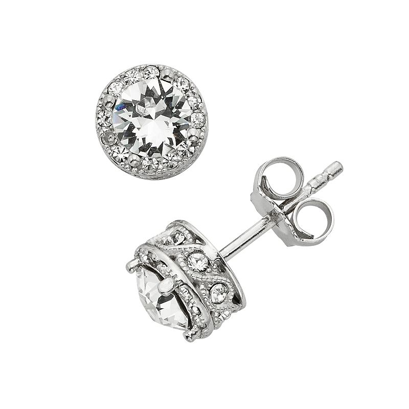 Diamond Essence Crystal and Diamond Accent Halo Stud Earrings - Made with Swarovski Crystals