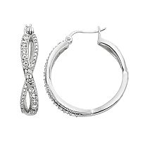 Diamond Essence Crystal & Diamond Accent Infinity Hoop Earrings