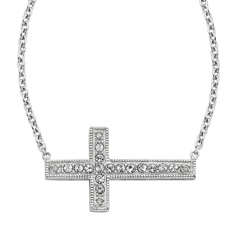 Diamond Essence Sterling Silver Crystal and Diamond Accent Sideways Cross Necklace - Made with Swarovski Crystals