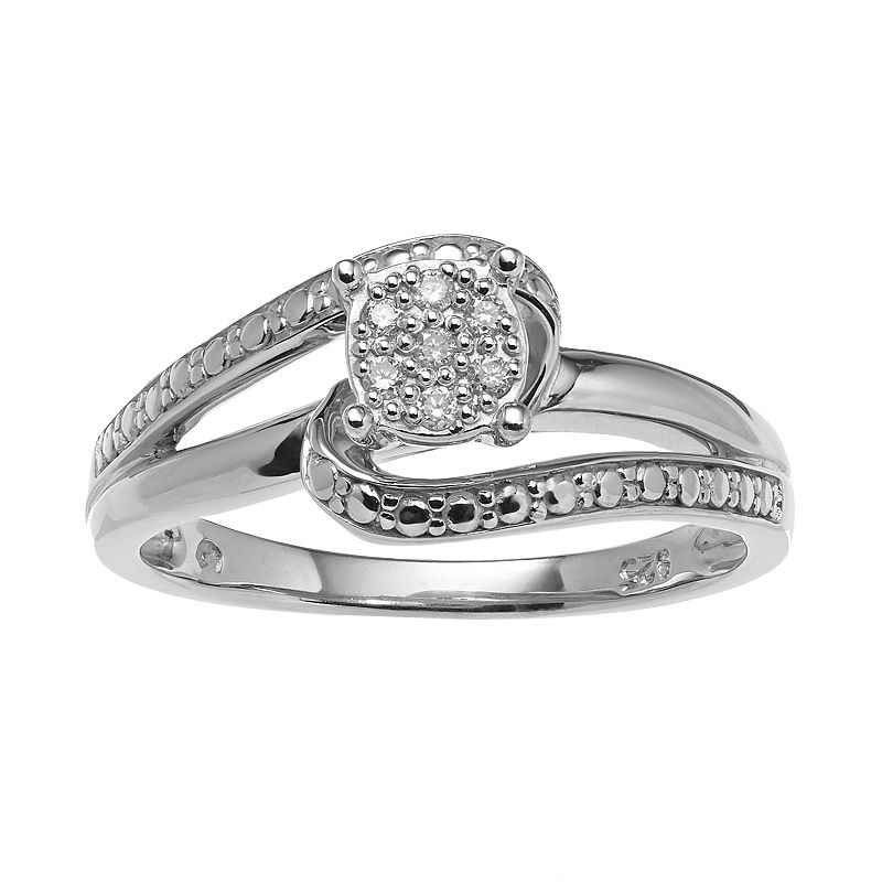 Sterling Silver Diamond Accent Swirl Ring