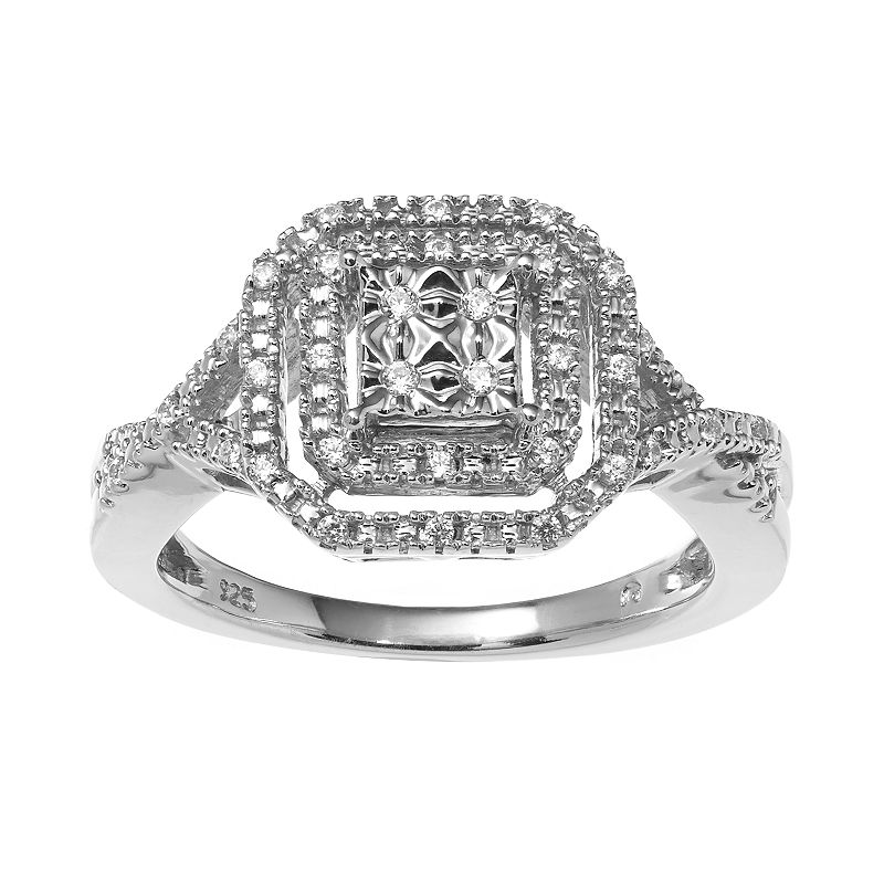 Sterling Silver 1/7-ct. T.W. Diamond Tiered Octagonal Halo Ring
