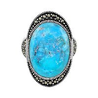 Le Vieux Silver-Plated Turquoise & Marcasite Ring - Made with Swarovski Marcasite
