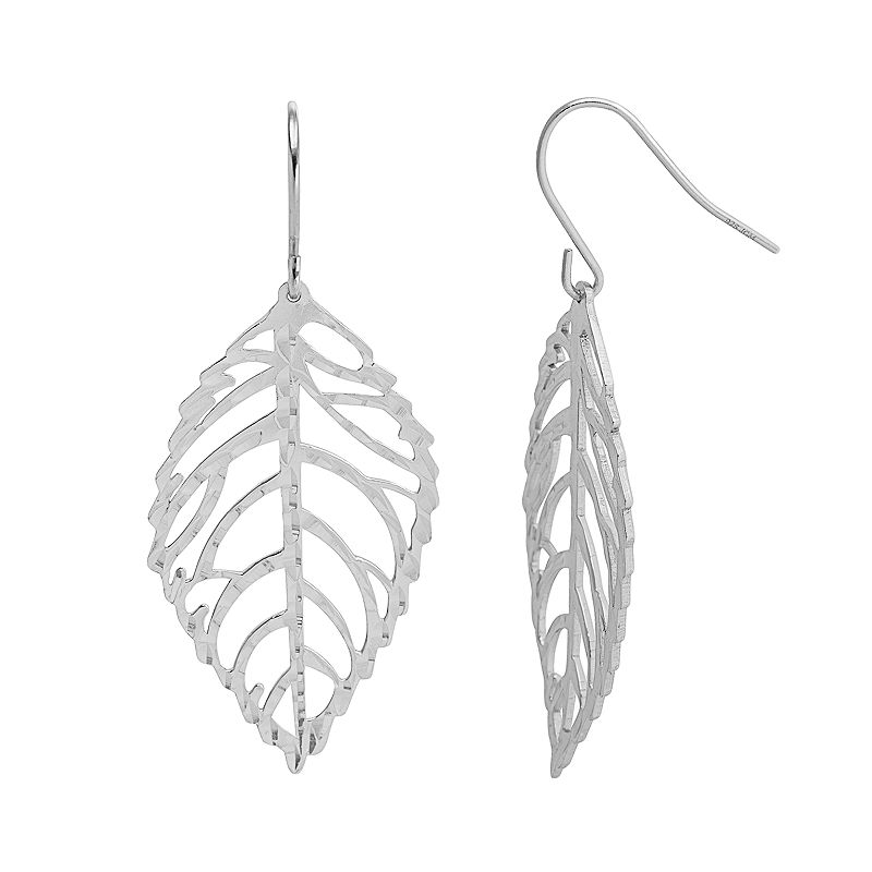 Silver Classics Sterling Silver Openwork Leaf Drop Earrings