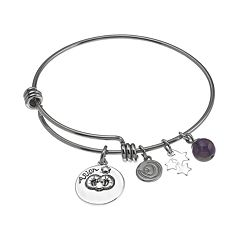 love this life Stainless Steel & Silver-Plated Amethyst Zodiac & Star Charm Bangle Bracelet