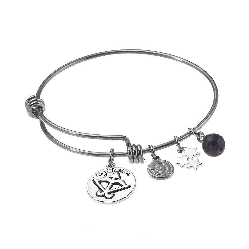 love this life Stainless Steel and Silver-Plated Amethyst Zodiac and Star Charm Bangle Bracelet