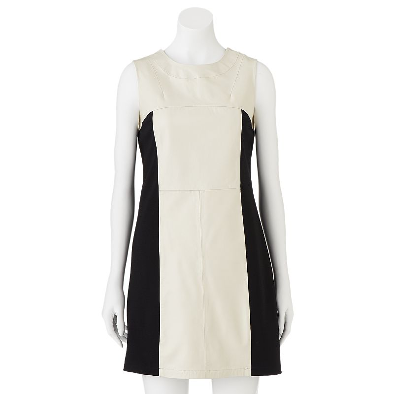 Women's Excelled Colorblock Leather Mixed-Media Sheath Dress, Size: XL, White