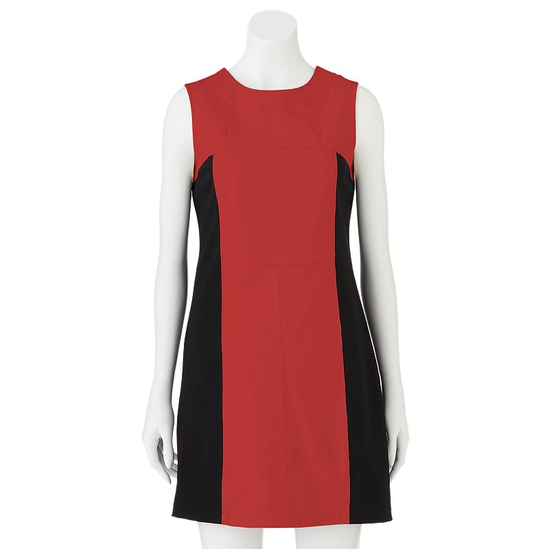 Women's Excelled Colorblock Leather Mixed-Media Sheath Dress, Size: XL, Red