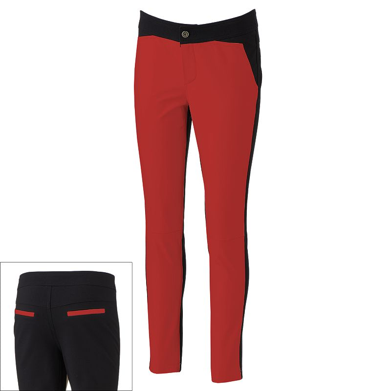 Women's Excelled Colorblock Leather Mixed-Media Skinny Pants