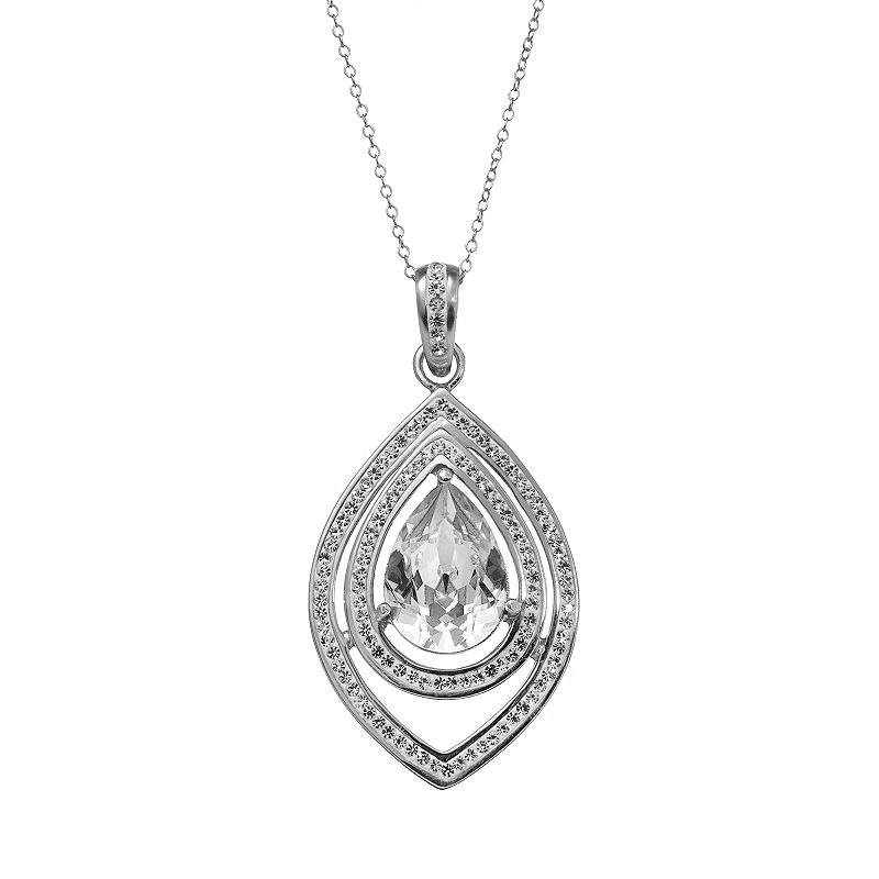 Sterling 'N' Ice Sterling Silver Crystal Teardrop Pendant - Made with Swarovski Crystals