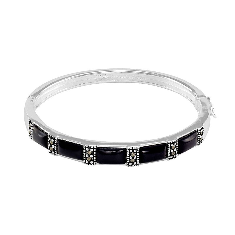 Le Vieux Silver - Plated Onyx and Marcasite Bangle Bracelet - Made with Swarovski Marcasite