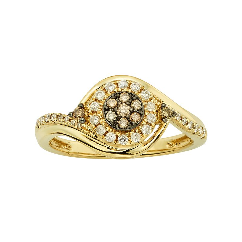 Espresso Natural Color Diamonds 10k Gold 1/4-ct. T.W. Brown and White Diamond Swirl Ring