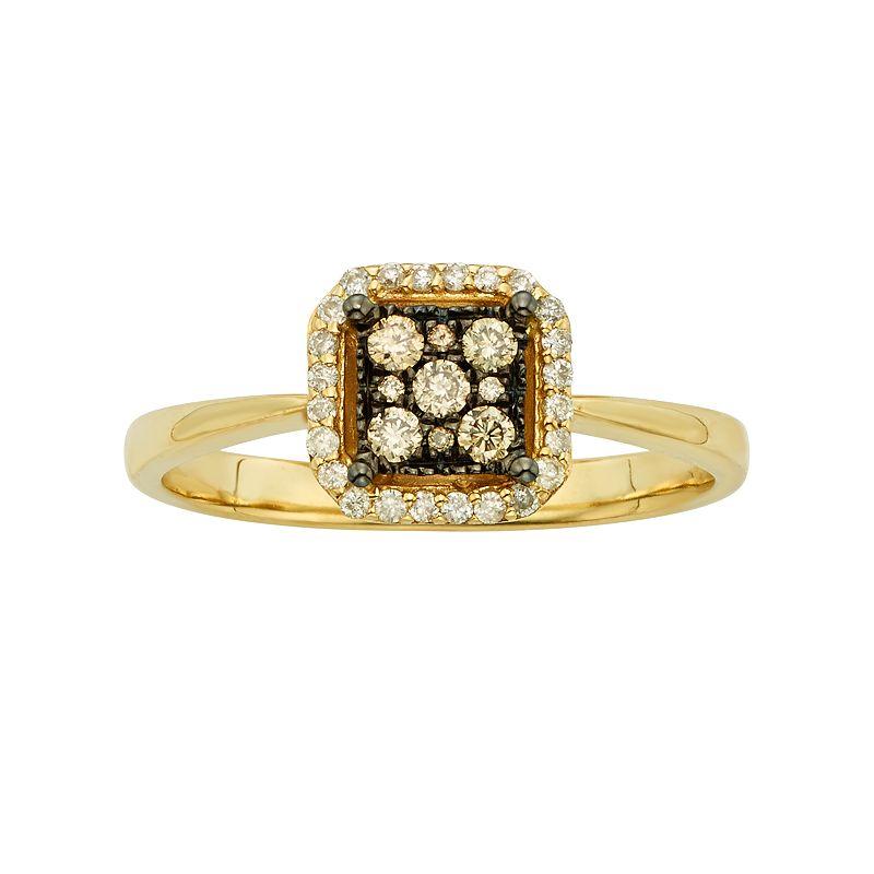 Espresso Natural Color Diamonds 10k Gold 1/5-ct. T.W. Brown and White Diamond Square Halo Ring