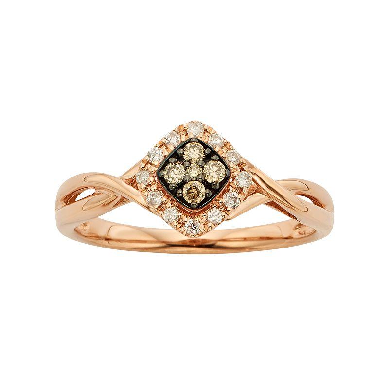 Espresso Natural Color Diamonds 10k Rose Gold 1/6-ct. T.W. Brown and White Diamond Square Halo Ring