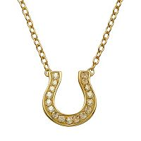 Artistique 18k Gold Over Silver Crystal Horseshoe Link Necklace - Made with Swarovski Crystals