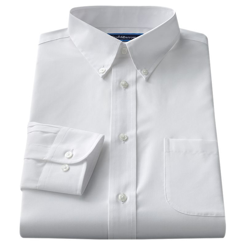 Big & Tall Croft & Barrow® Classic-Fit Solid Broadcloth Button-Down Collar White Dress Shirt