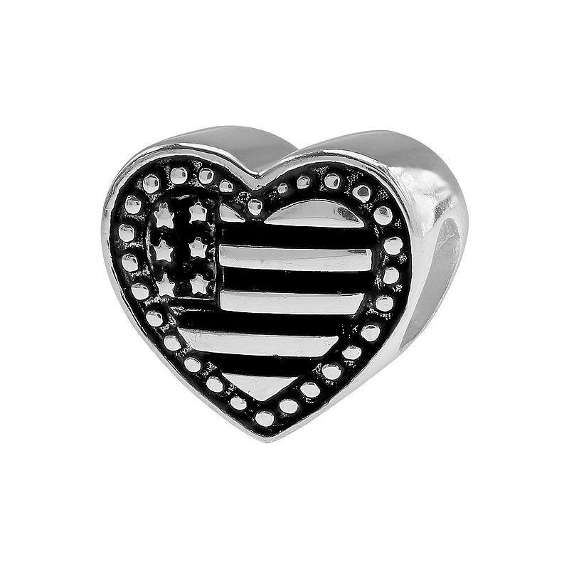 Individuality Beads Sterling Silver American Flag Heart Bead