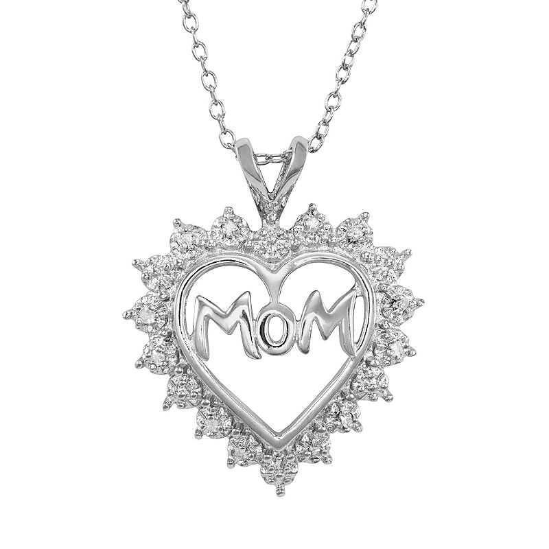 Sterling Silver 1/10-ct. T.W. Diamond '' Mom'' Heart Pendant
