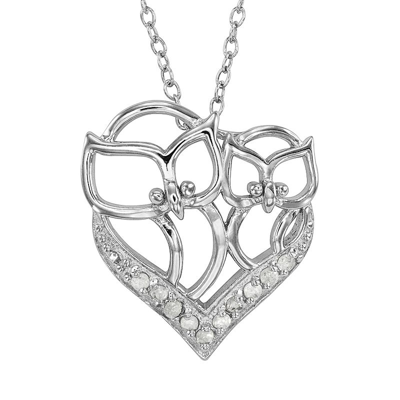 Sterling Silver 1/10-ct. T.W. Diamond Owl Heart Pendant