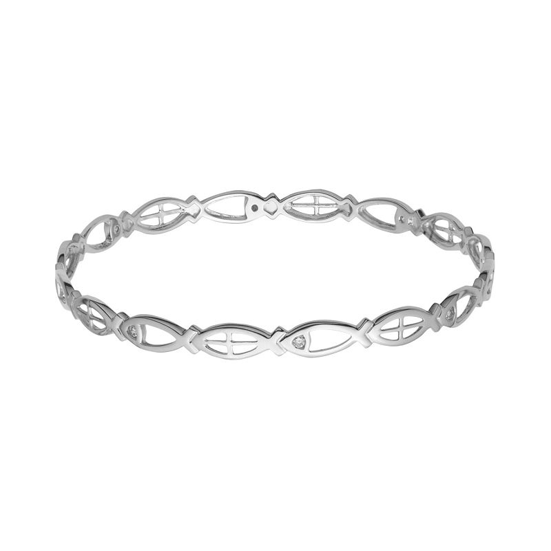 Sterling Silver Cubic Zirconia Jesus Fish Bangle Bracelet