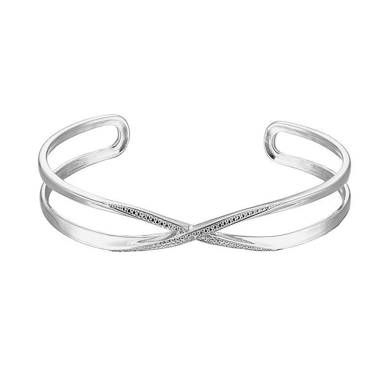 Sterling Silver Diamond Accent Openwork Cuff Bracelet