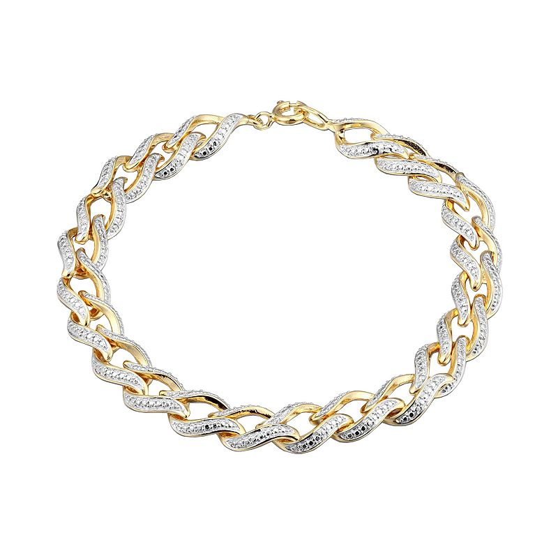 18k Gold Over Silver Diamond Accent Bracelet