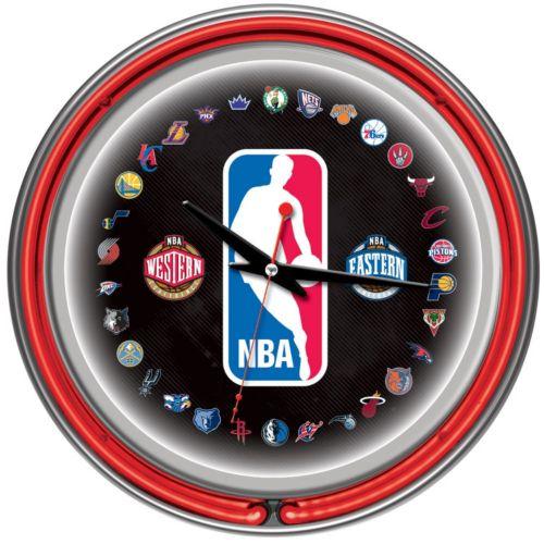 NBA Chrome Double-Ring Neon Wall Clock