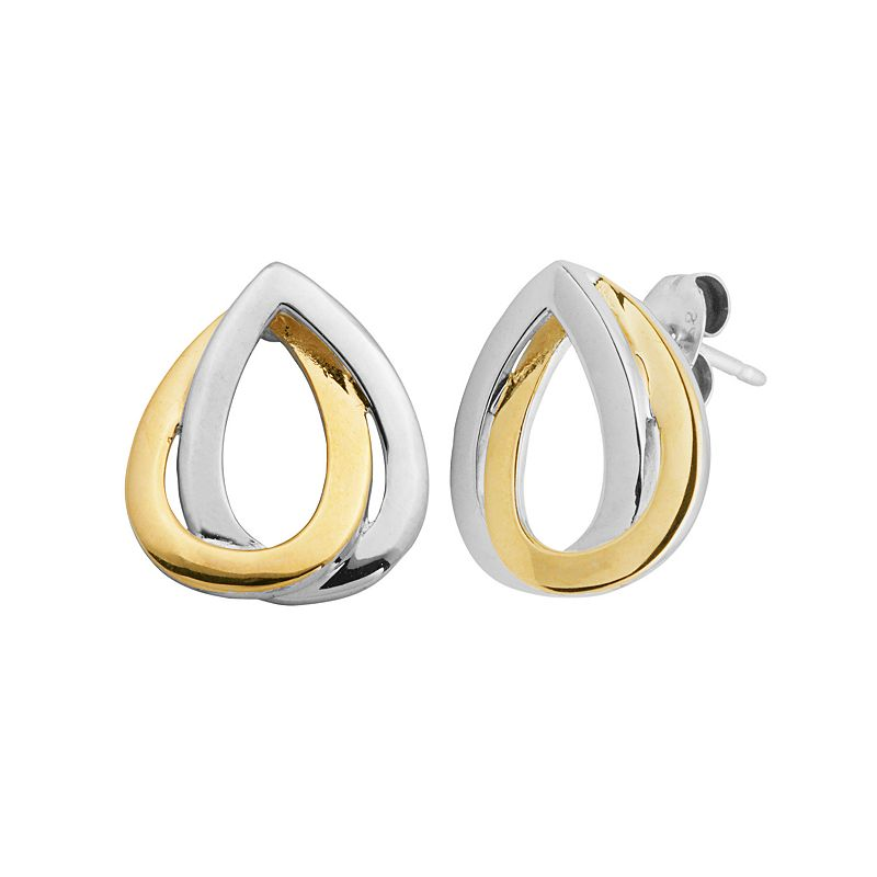 18k Gold Over Silver and Sterling Silver Double Teardrop Earrings