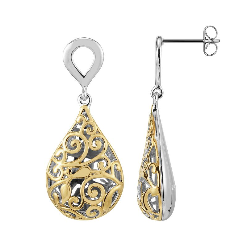 18k Gold Over Silver and Sterling Silver Filigree Teardrop Earrings