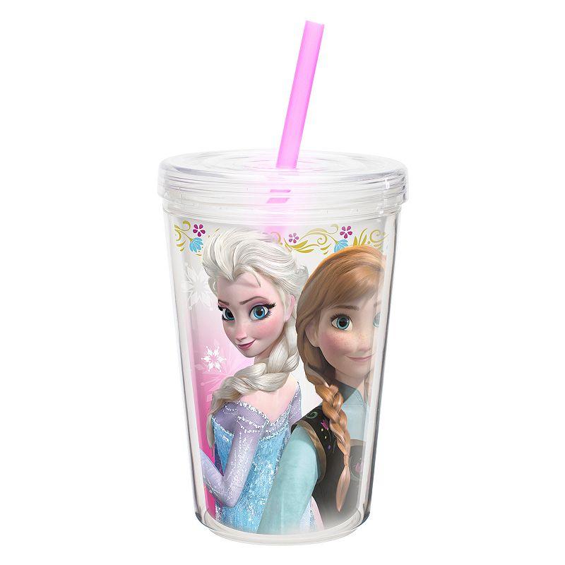 Zak Designs Disney Frozen Elsa and Anna 13-oz. Insulated Straw Tumbler