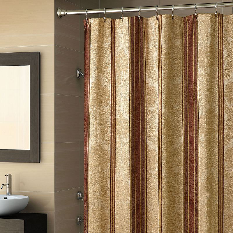 CHAPEL HILL BY CROSCILL MARQUIS FABRIC SHOWER CURTAIN RED