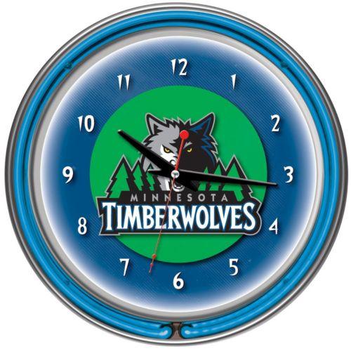 Minnesota Timberwolves Chrome Double-Ring Neon Wall Clock