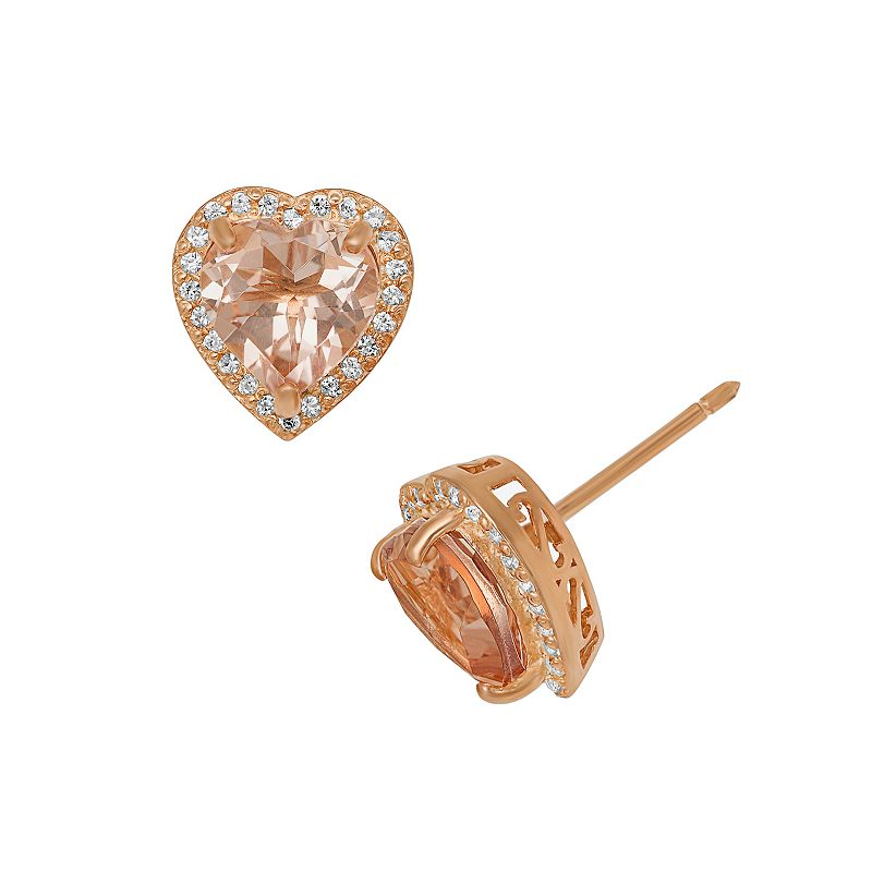 14k Rose Gold Over Silver Morganite Triplet and Lab-Created White Sapphire Heart Halo Stud Earrings