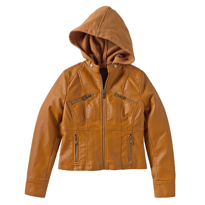 Girls 7-16 Jou Jou Hooded Faux-Leather Jacket