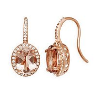 14k Rose Gold Over Silver Morganite Triplet & Lab-Created White Sapphire Oval Halo Drop Earrings