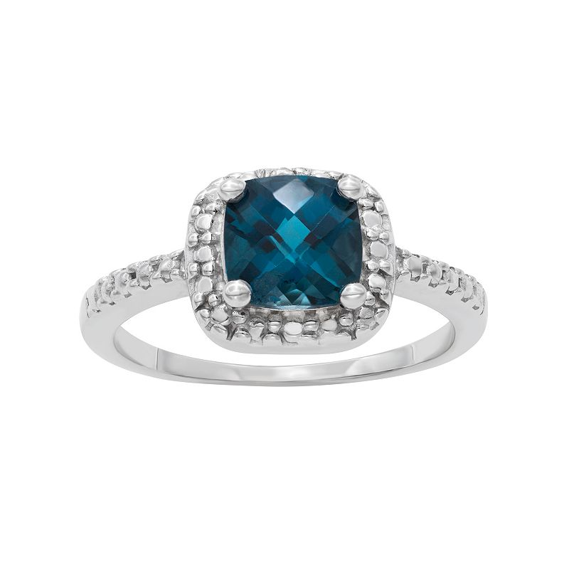 Sterling Silver London Blue Topaz and Diamond Accent Square Halo Ring