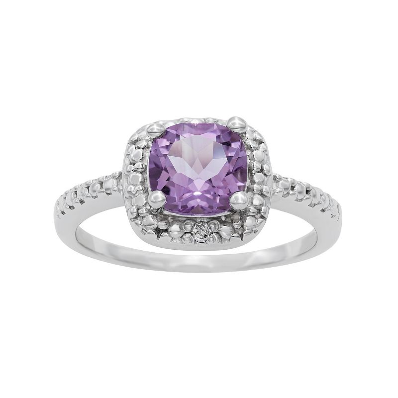 Sterling Silver Amethyst and Diamond Accent Square Halo Ring