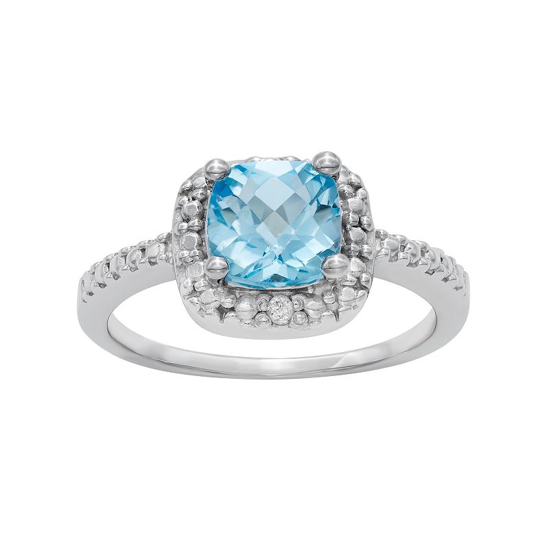 Sterling Silver Blue Topaz and Diamond Accent Square Halo Ring