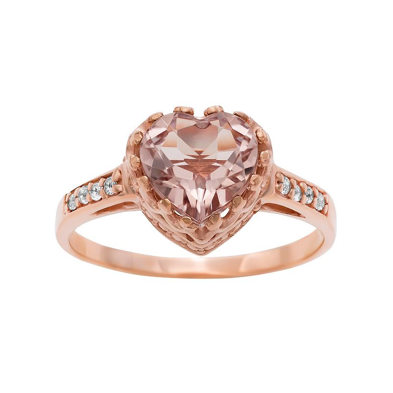 14k Rose Gold Over Silver Morganite Triplet and Lab-Created White Sapphire Heart Crown Ring