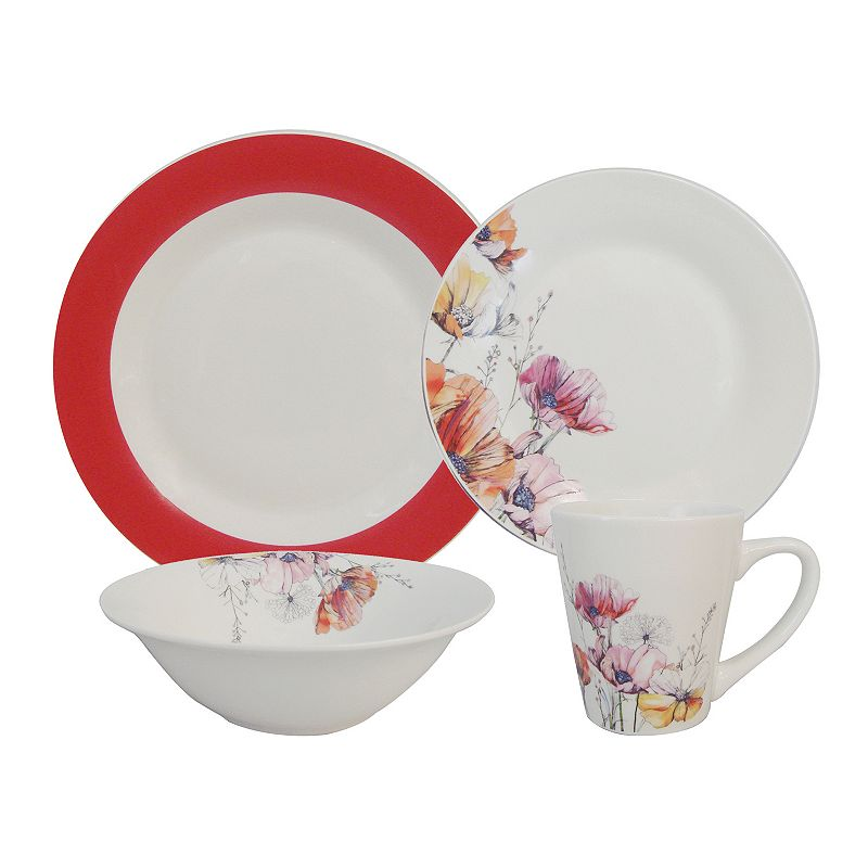 SONOMA Goods for Life™ Rim Poppy 16-pc. Dinnerware Set